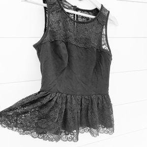 black SEXY Bebe lace peplum blouse top
